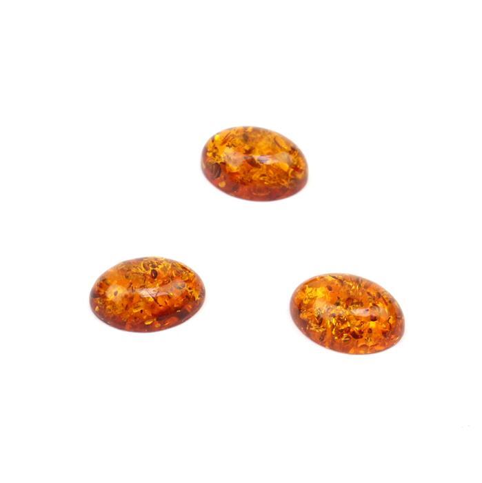 Baltic Cognac Amber Oval Cabochons Approx 14x10mm (3pcs)