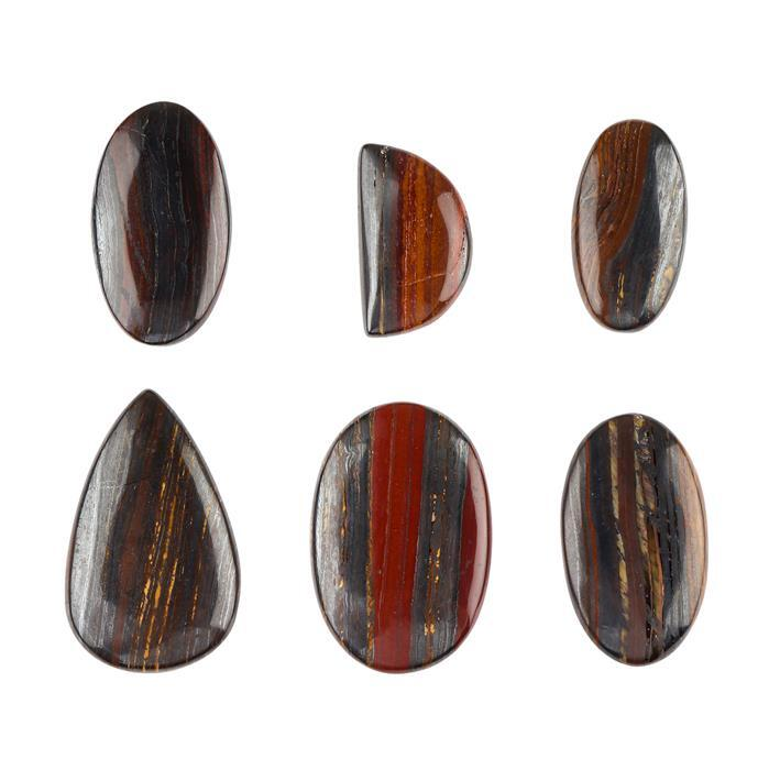 240cts Tiger Iron Multi Shape Cabochons Assortment.