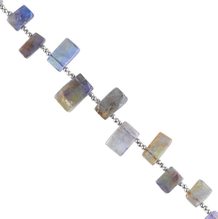 35cts Bi Colour Tanzanite Graduated Plain Bars Approx 6x4 to 11x7mm, 12cm Strand.