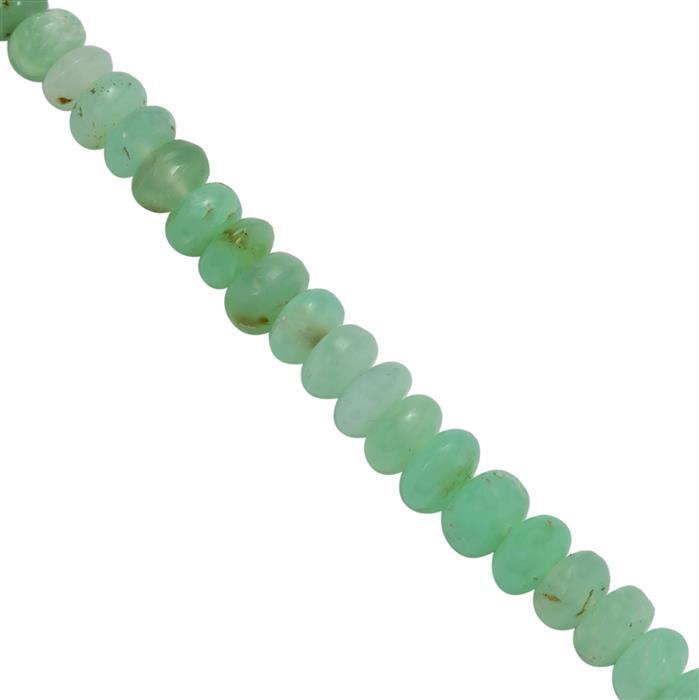 25cts Green Opal Graduated Smooth Beads Rondelles Approx 3x2 to 5x3mm, 20cms Strand