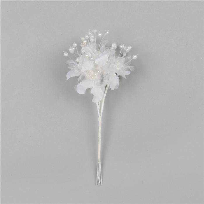 White Organza Blossom with Faux Pearl Centre Bunch