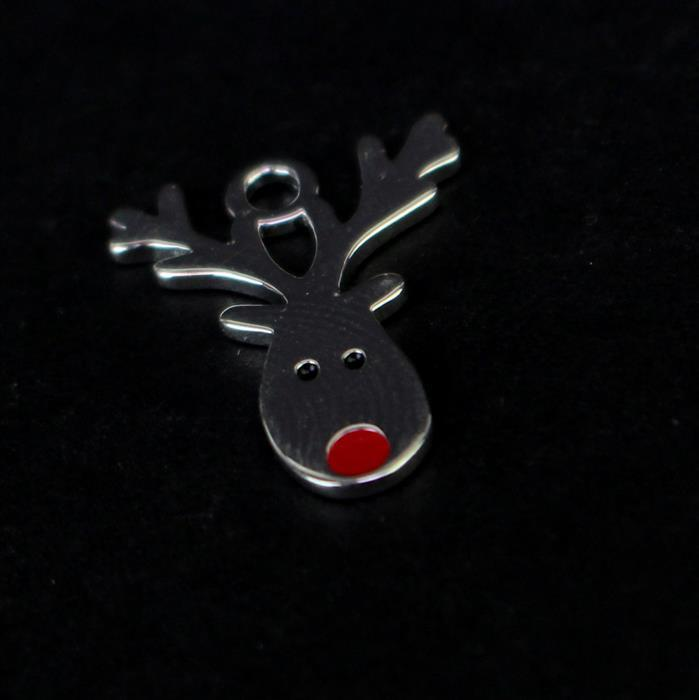 925 Sterling Silver Reindeer Charm Approx 20x16mm, 1pc