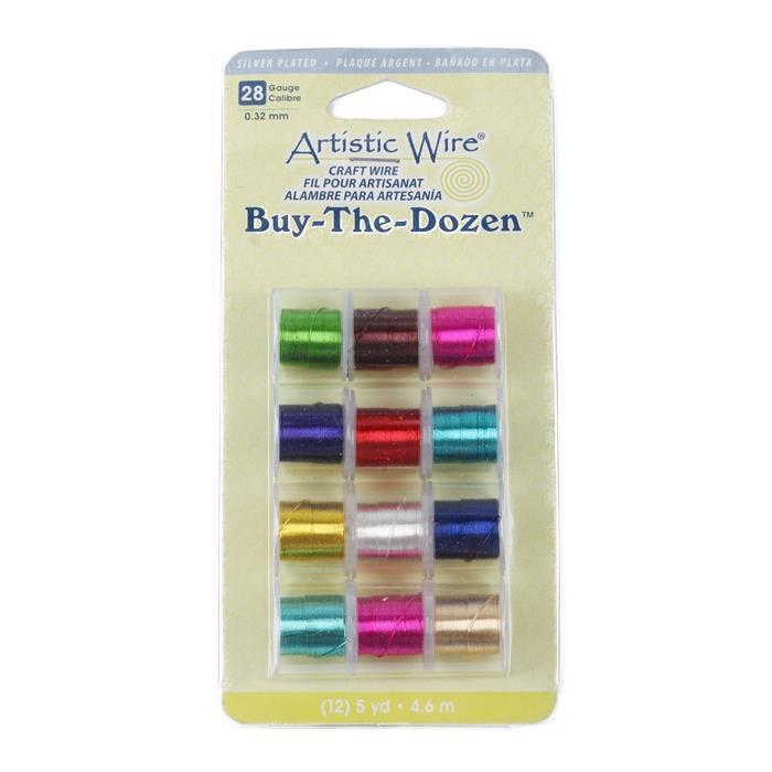 Artistic Wire Buy The Dozen - Silver Plated Assorted Colours 28 Gauge 0.32mm/4.5m (12pk)