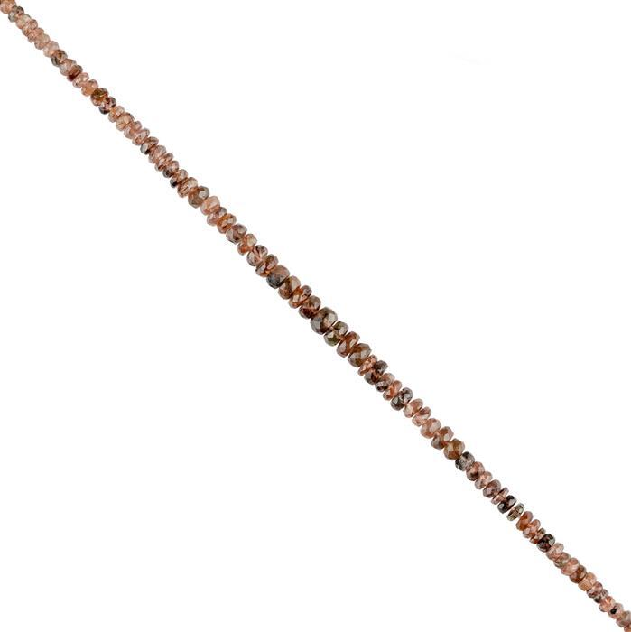34cts Andalusite Graduated Faceted Rondelles Approx 2x1 to 6x4mm, 18cm Strand.