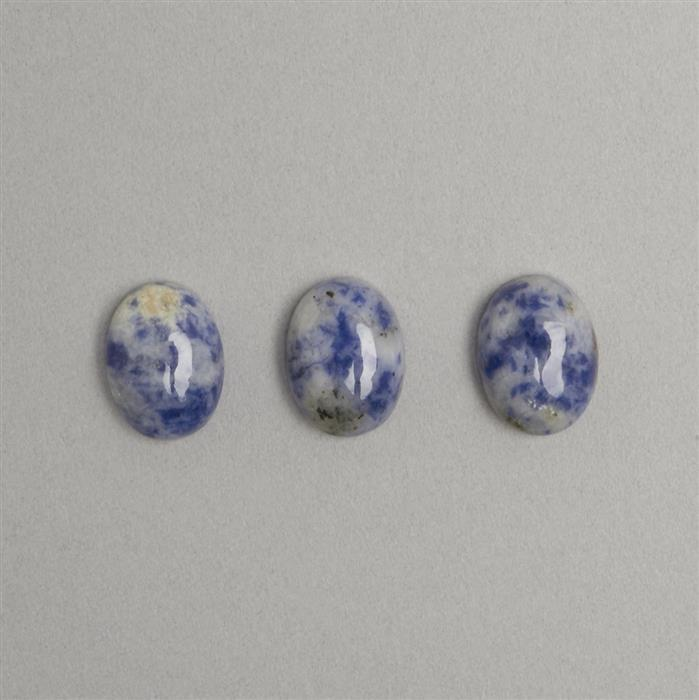 15ct Sodalite Oval Cabochons  Approx 12x16mm 3pcs/set