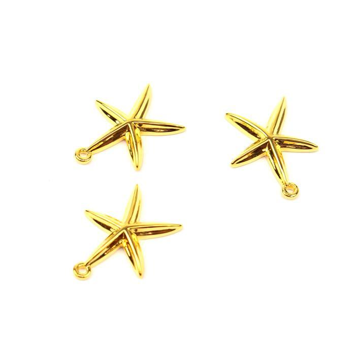 Gold Plated 925 Sterling Silver Starfish Charms Approx  15x12mm 3pcs