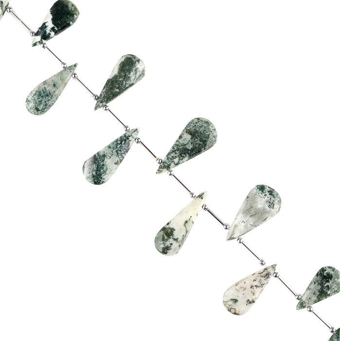 190cts Green Opal with Chalcedony Graduated Faceted Pears Approx 22x10 to 38x15mm, 22cm Strand.