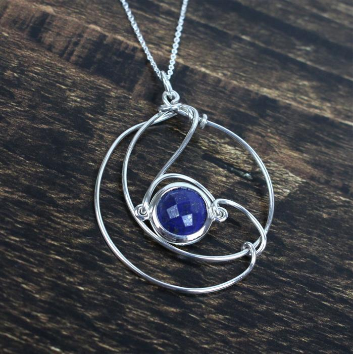 Deep Blue; 925 Sterling Silver Lapis Lazuli Connectors & Sterling Silver Wire