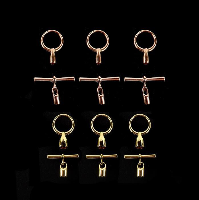Clasp Special Inc. Rose Gold and Gold Plated Toggle Clasp with Cord Ends