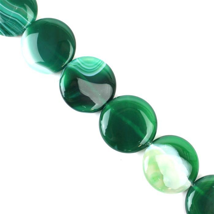 640cts Green Stripe Agate Puffy Coins Approx 30mm, 38cm/strand
