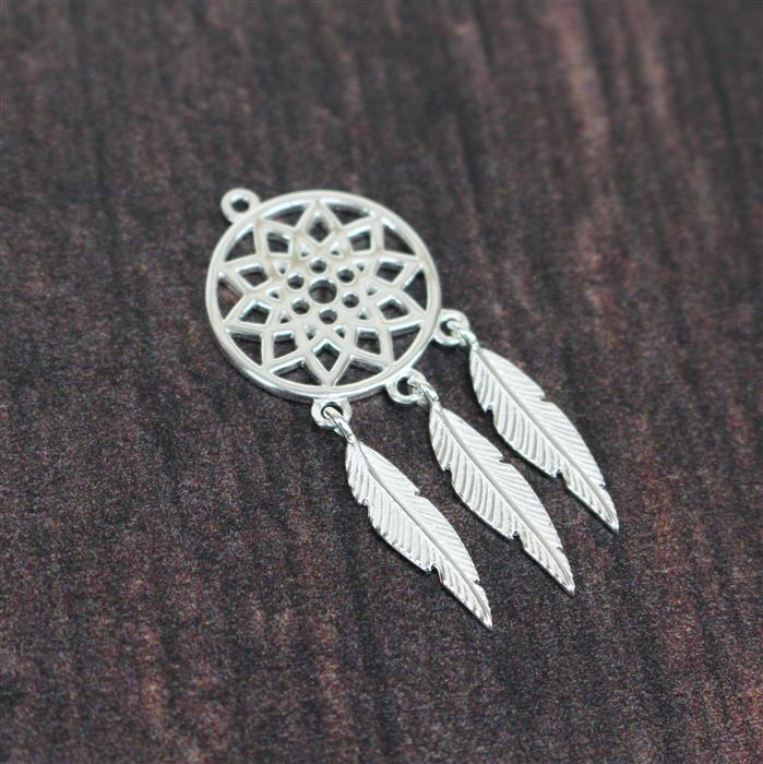 925 Sterling Silver Dreamcatcher Pendant, Approx 33x15mm