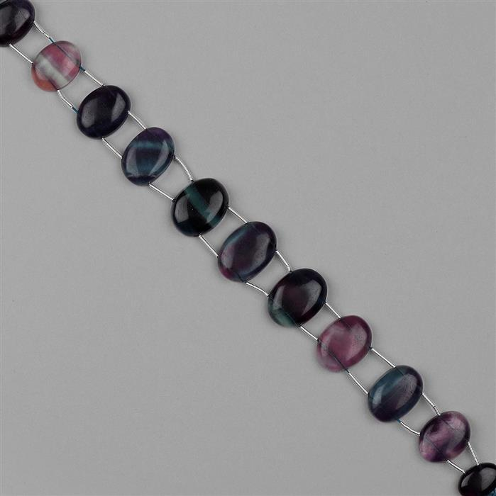 206cts Multi Colour Fluorite Graduated Plain Double Side Drilled Ovals Approx 14x9 to 20x14mm, 18cm Strand.