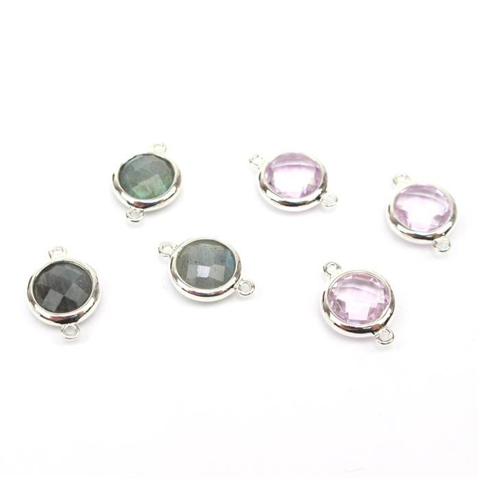 Let's Connect INC Labradorite & Pink Amethyst Briolette Round Connectors