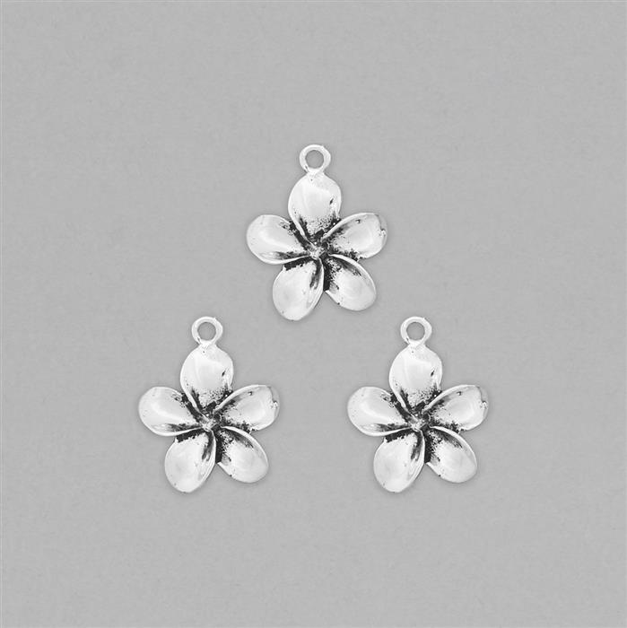 925 Sterling Silver Oxidized Flower Charms Approx 20x17mm (3pcs)