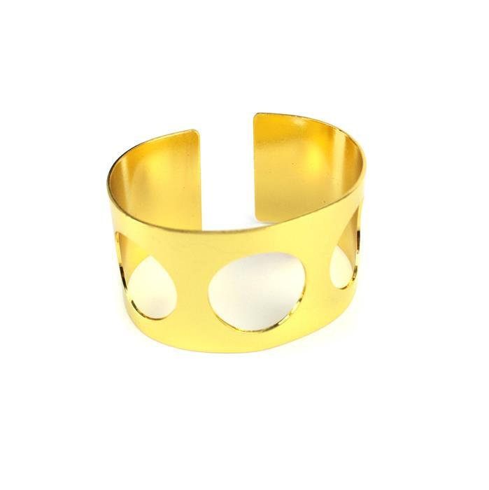 Gold Colour Brass Cuff w/ x3 Cut-Outs, Approx 65x35mm (1pk)