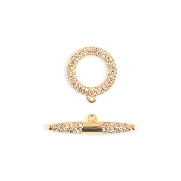 Gold Plated CZ Toggle Clasp Approx 15x17mm I.D10mm Bar 6x27mm 1pc/pack