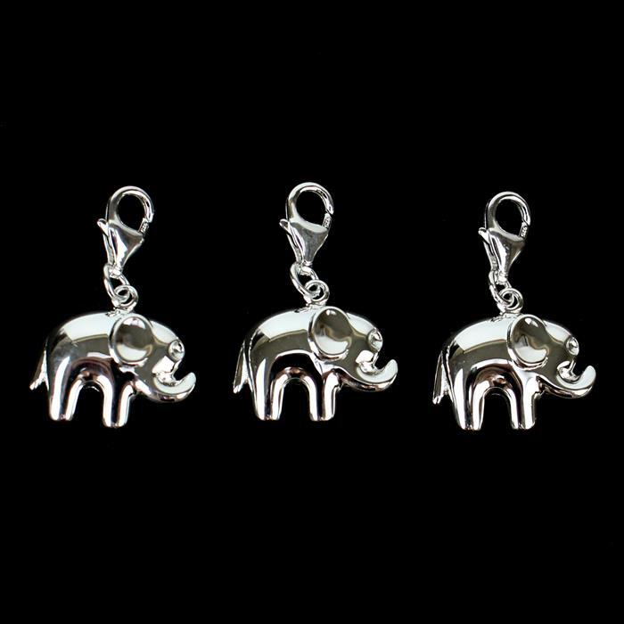 925 Sterling Silver Elephant Charm Approx 16 x 14mm (3 pcs)