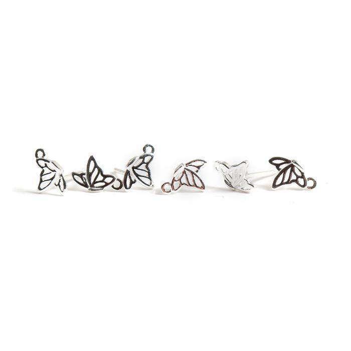 925 Sterling Silver Filigree Butterfly in Flight Earrings with Loop Approx 6x8mm 3 Pairs