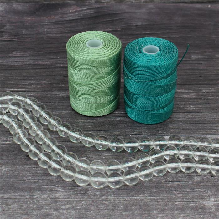 Mala Necklace Kit; 3 x 150cts Clear Quartz Rounds Approx 8mm, Teal & Mint Nylon Cord 0.4mm
