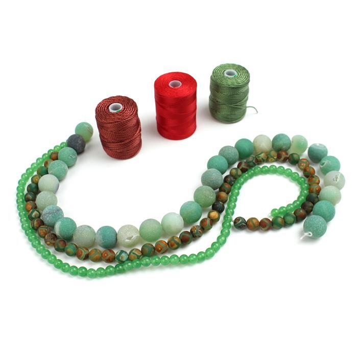 Shanghai: 0.3mm & 0.9mm cords with Green Quartz, Green Frosted Agate & Antique Green Agate