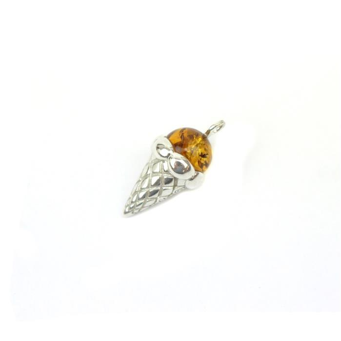 Baltic Cognac Amber Icecream Pendant Approx 22x11mm Sterling Silver