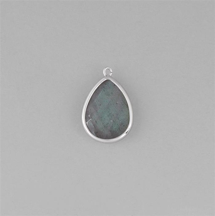 925 Sterling Silver Bezel Pendant Approx 22x15mm Inc. 8.5cts Labradorite Briolette Cut Pear Approx 18x13mm.