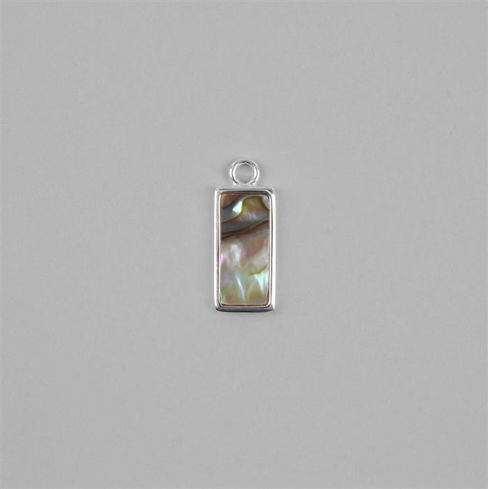 925 Sterling Silver Abalone Pendant Charm, Approx 25x15mm, 1pcs