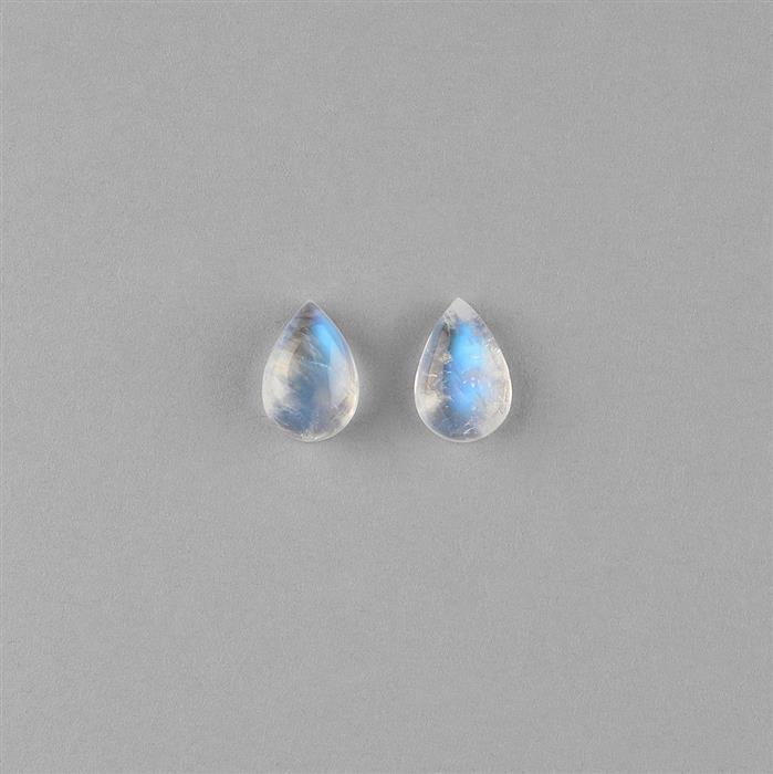 5.90cts Rainbow Moonstone Pear Cabochons 12x8mm. (Pack of 2)