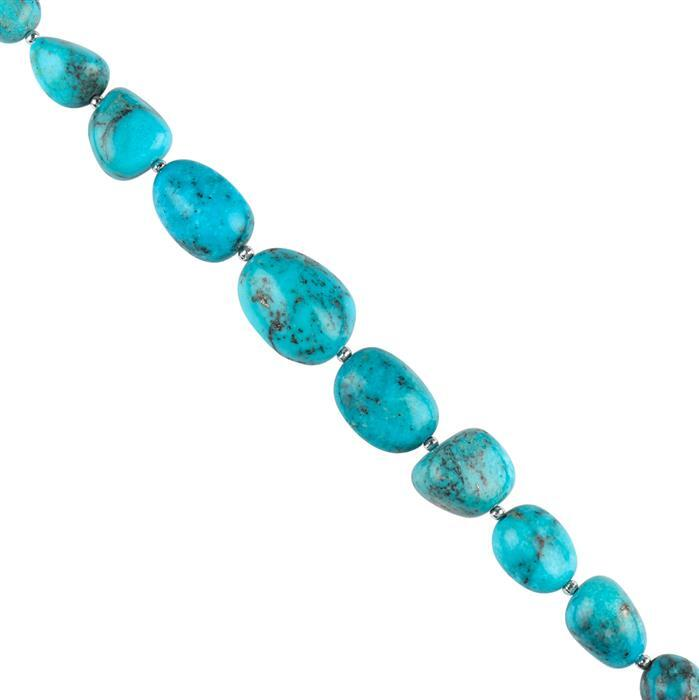 80cts Kingman Turquoise Graduated Plain Tumbles Approx 8x7 to 13x11mm, 12cm Strand.