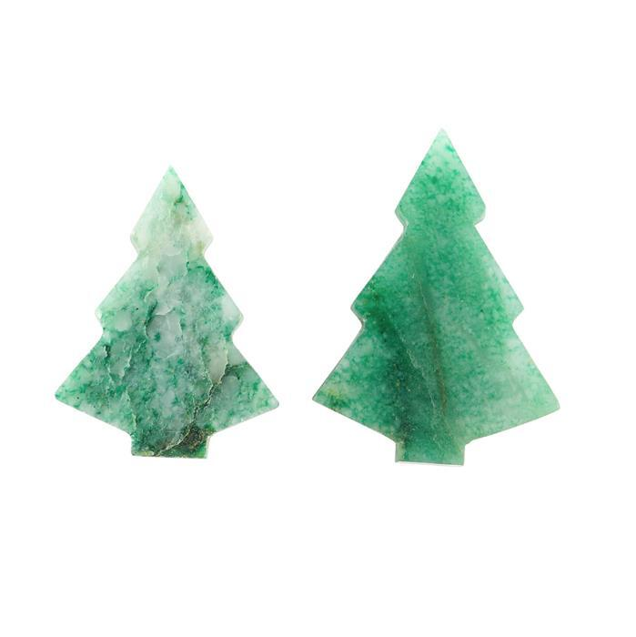 110cts Aventurine Quartz Plain Christmas Tree Shape Gemstones. Approx 30x40mmPack of 2)