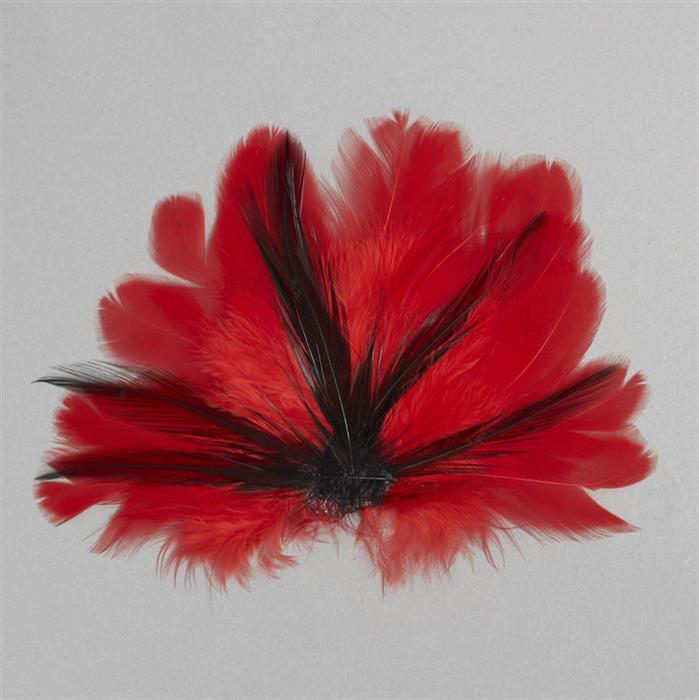 Red and Black Feathers Fan Approx 90x60mm