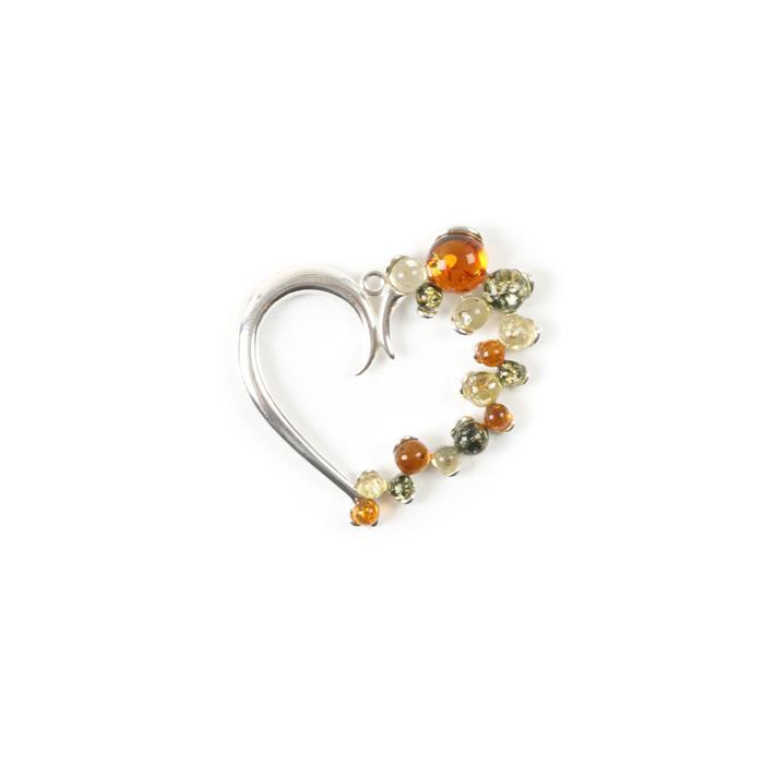 Baltic Multicolour Amber Sterling Silver Heart Pendant - 36x35mm