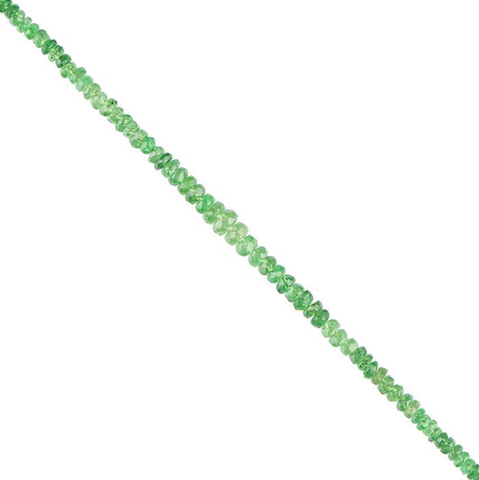 10cts Tsavorite Garnet Graduated Faceted Rondelles Approx 2x1 to 3x1mm, 20cm Strand.