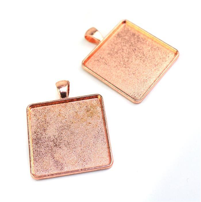 Rose Gold Colour Rectangle Bezel Pendant Approx 33x42mm (Set of 2)