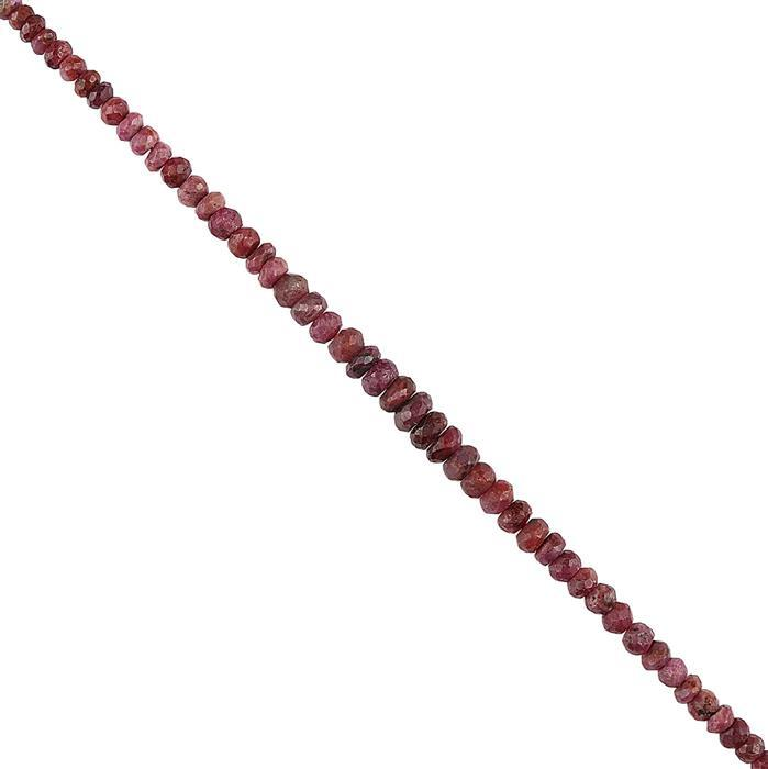 95cts Ruby Graduated Faceted Rondelles Approx 4x2 to 7x4mm, 22cm Strand.