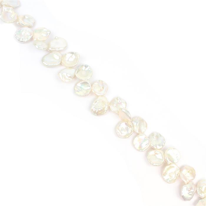 White Freshwater Cultured Top Drilled Keshi Pearls Approx 12x11-17x12mm , 38cm