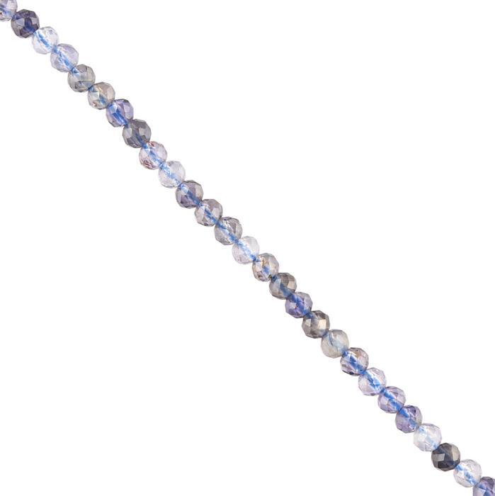 10cts Iolite Micro Faceted Rounds Approx 2mm, 38cm Strand.