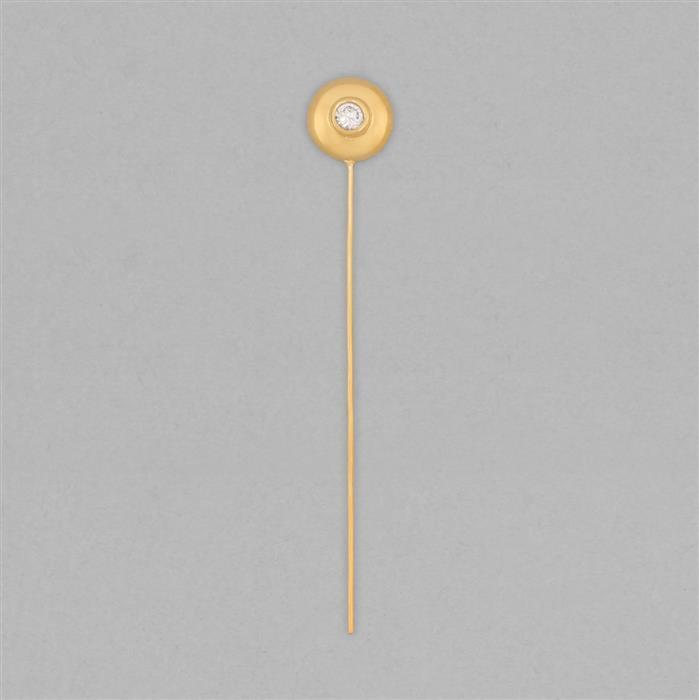 Gold Plated 925 Sterling Silver Gemset Birthstone Headpin Approx 59x9mm Inc. 0.14cts White Topaz Round Approx 3mm