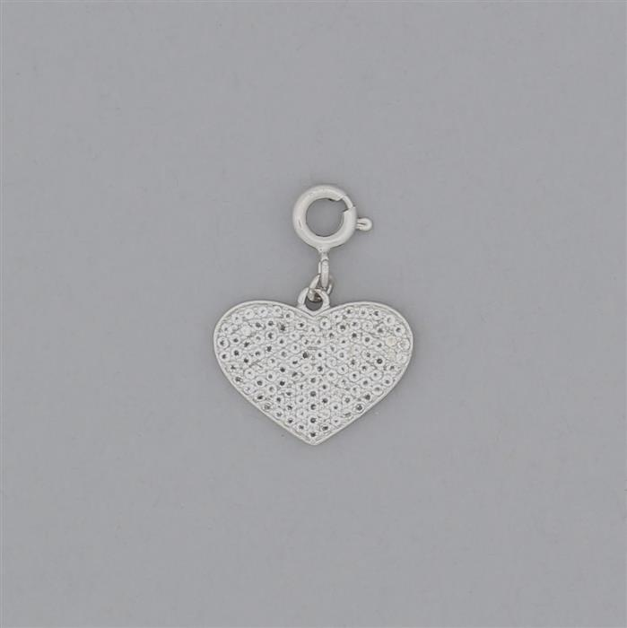 925 Sterling Silver Heart Charm Approx 17x13mm With Bolt Ring Inc. White Topaz Brillant Round