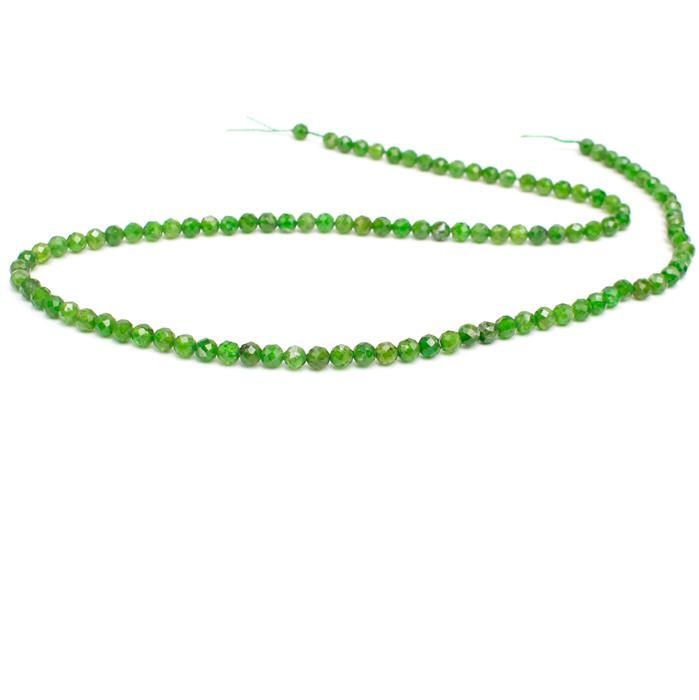 30cts Diopside Faceted Rounds, Approx 4mm, 38cm strand