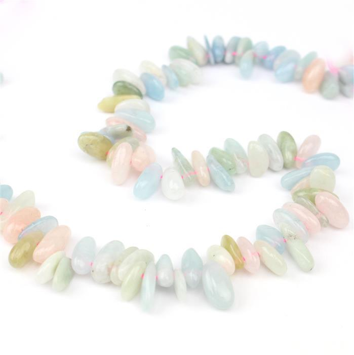 280cts Multi-Colour Beryl Irregular Tooth, Approx 3x12 – 7x28mm , 38cm strand