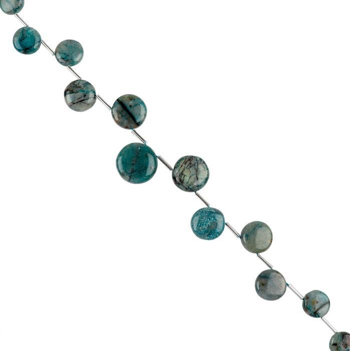 120cts Chrysocolla Graduated Plain Corner Drilled Puffy Coins Approx 9 to 16mm, 20cm Strand.