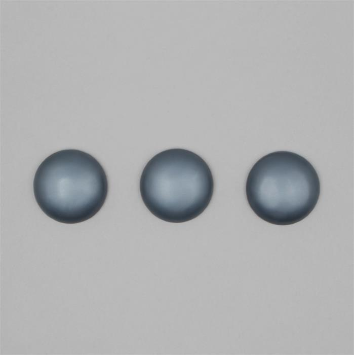 Dark Blue Frosted Shell Pearl Round Cabochons Approx 30mm (3PCS)