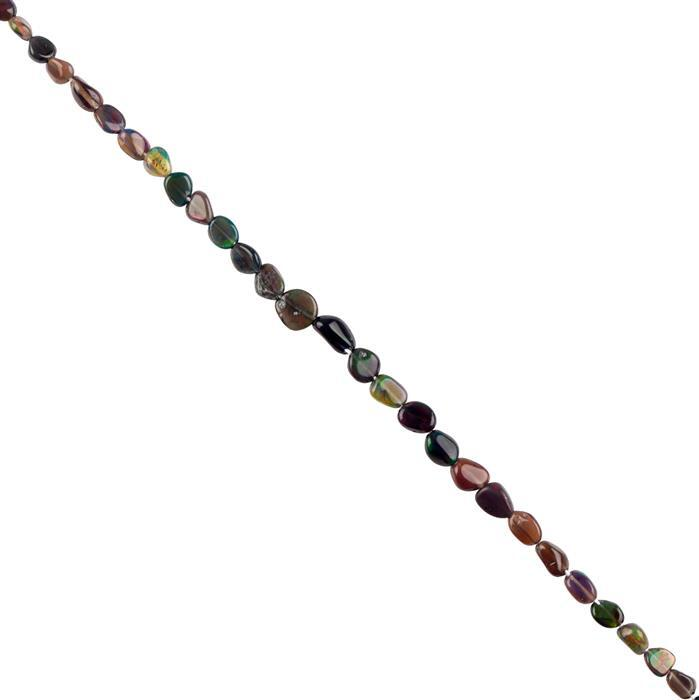 5cts Black Ethiopian Opal Graduated Plain Tumbles Approx 3x3 to 6x4mm, 18cm Strand.