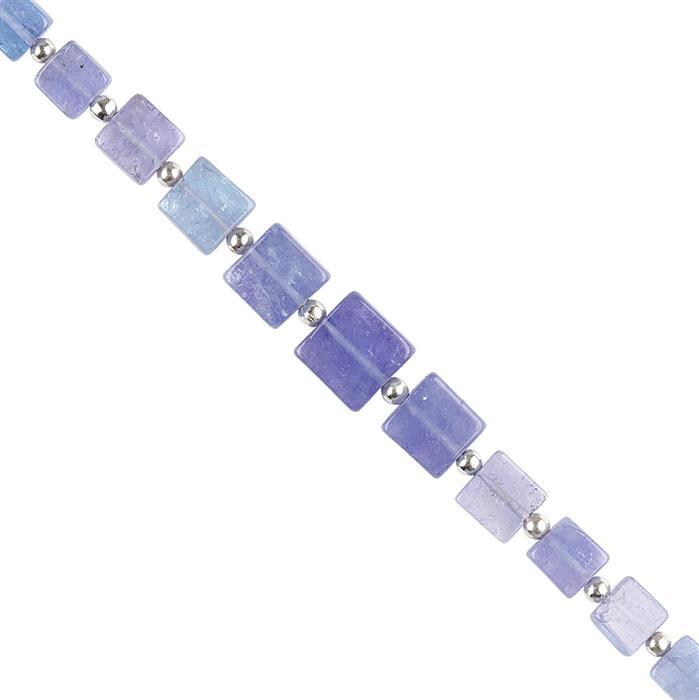 15cts Tanzanite Graduated Plain Flat Squares Approx 3 to 7mm, 10cm Strand.