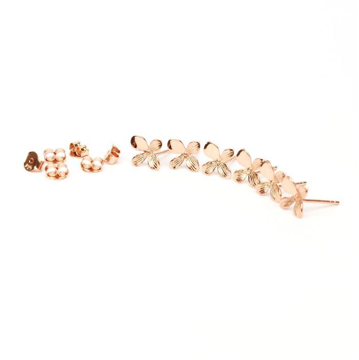 Rose Gold Plated 925 Sterling Silver Oriental Flower Earrings with Loop Approx 10mm 3 pairs