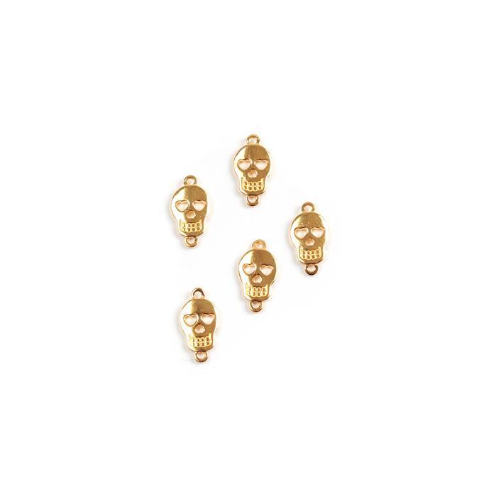 Gold Plated 925 Sterling Silver Sugar Skull Connectors Approx 11x6mm, 5pk