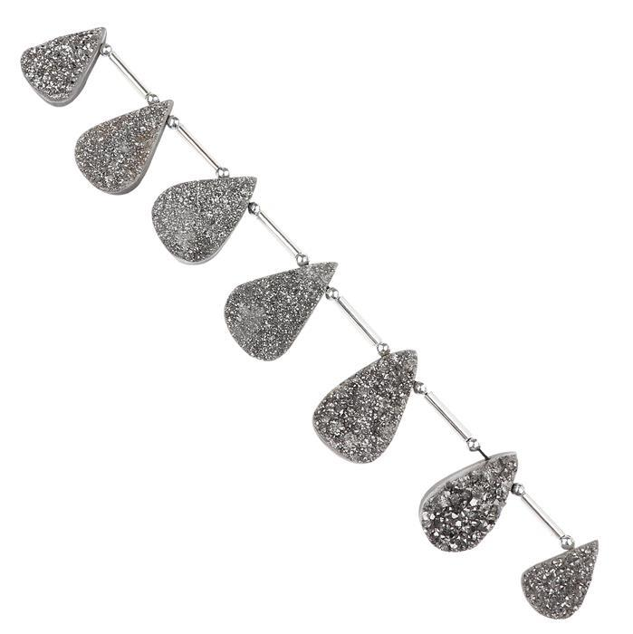 168cts Grey Colour Coated Drusy Quartz Graduated Top Drilled Pears Approx 18x10 to 26x14mm, 14cm Strand.