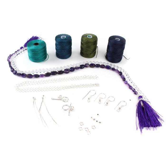 Peacock Plume; 65cts Amethyst, 105cts Clear Quartz, Nylon cord 0.4mm & 0.9mm & Findings