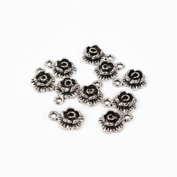 Oxidised Silver Plated Alloy Flower Charms - 13x9mm (10pcs/pk)